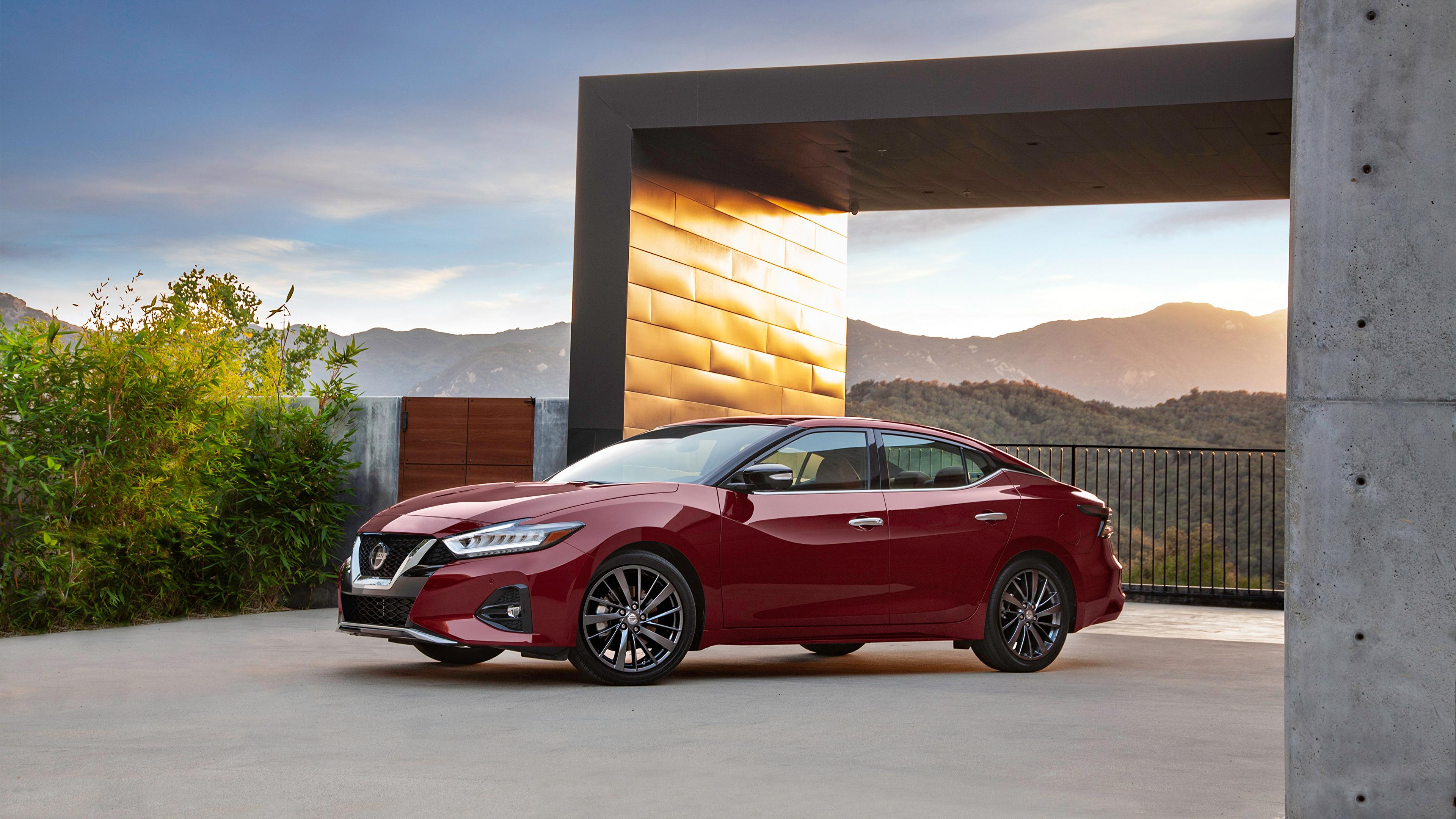 Картинки Ниссан 2019 Maxima Platinum Бордовый Металлик автомобиль 3840x2160 Nissan бордовая бордовые темно красный авто машина машины Автомобили