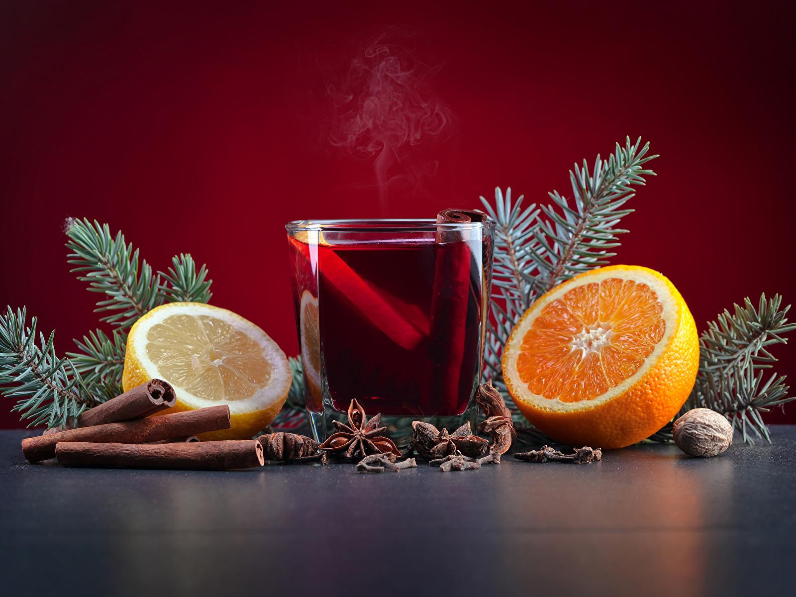 Картинка Новый год Апельсин Бадьян звезда аниса Стакан Лимоны Корица Еда Орехи Напитки 1600x1200 Рождество стакана стакане Пища Продукты питания