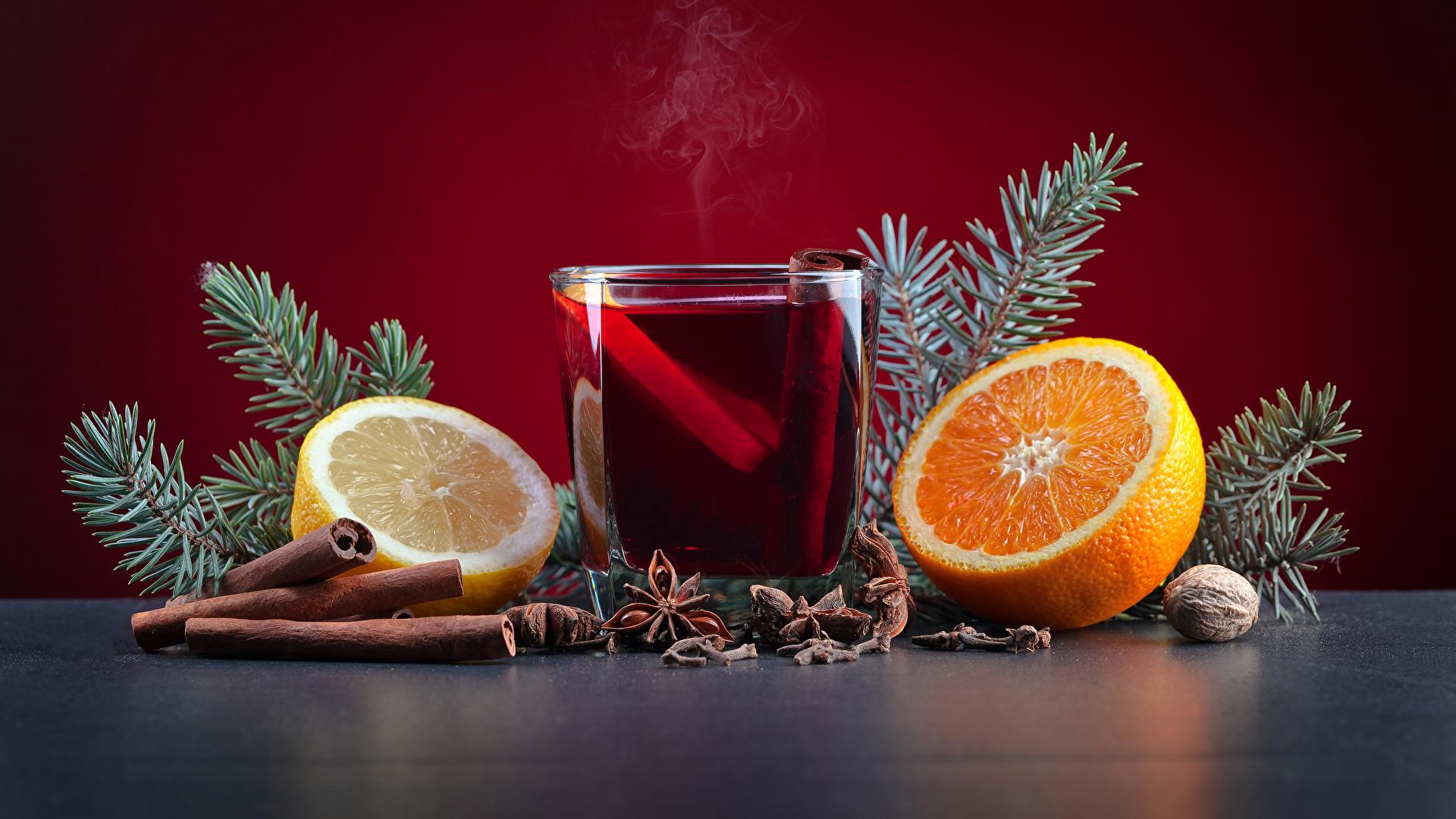 Картинка Новый год Апельсин Бадьян звезда аниса Стакан Лимоны Корица Еда Орехи Напитки 1920x1080 Рождество стакана стакане Пища Продукты питания
