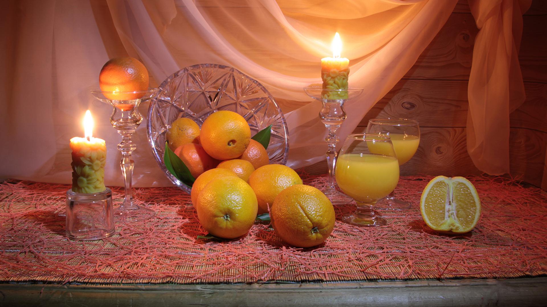 Фотографии Апельсин Еда Свечи Натюрморт Цитрусовые 1920x1080 Пища Продукты питания