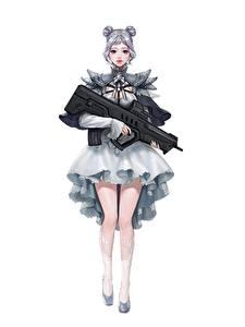 Фотография Автоматом Белым фоном Юбка Ноги Da Hye Lee, Lolita Gunslinger Фантастика Девушки