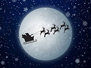 Картинка Рождество Олени Дед Мороз Луны Снежинки Санки Летящий Силуэта Ночные
