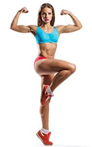 Фотография Фитнес Позирует Ног Рука Смотрит Белом фоне спортивные Девушки