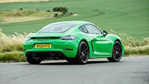 Обои для рабочего стола Порше Купе Зеленый Металлик Сзади 718 Cayman GTS 4.0, 982C, UK-spec, 2020 авто