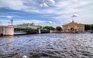 Картинка Санкт-Петербург Россия Дома Реки Мосты Города