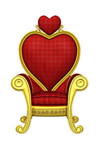 Картинки День всех влюблённых Белый фон Кресло Дизайн Сердечко 3D Графика