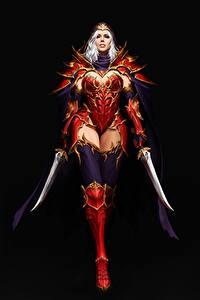 Картинка Воины Ассасин На черном фоне Красивая Броня Кинжал Maxi Hoy, Red Assassin Фантастика Девушки