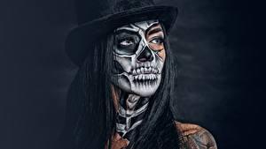 Фотография Косметика на лице Шляпа Брюнетка Взгляд day of the dead Девушки