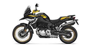 Картинка BMW - Мотоциклы Сбоку Белый фон F 850 GS Edition 40 Years GS, 2020 мотоцикл
