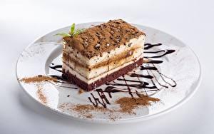 Фотографии Торты Кусочки Тарелка Какао порошок Еда