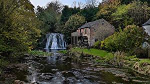 Фото Англия Водопады Речка Леса Водяная мельница Great Asby North Yorkshire Природа