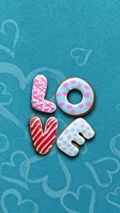 Картинки Любовь Печенье Сахарная глазурь Английский Текст