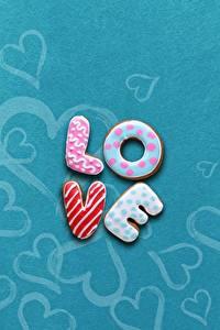 Картинки Любовь Печенье Сахарная глазурь Английский Слово - Надпись