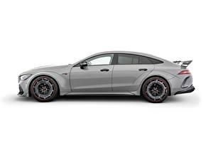 Картинки Mercedes-Benz Brabus Серая Сбоку Белом фоне Rocket 900, AMG GT 63 S, 2020 Автомобили