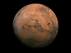 Обои Планеты Марс Черный фон Космос