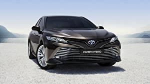 Обои Тойота Спереди Черный Гибридный автомобиль Camry Hybrid 2019 Авто