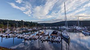 Фото Штаты Парки Пирсы Парусные Катера Яхта Acadia National Park Города
