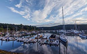 Фото Штаты Парки Пирсы Парусные Катера Яхта Acadia National Park