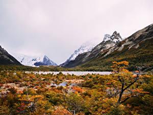 Картинки Аргентина Гора Озеро Осень Laguna Torre Природа