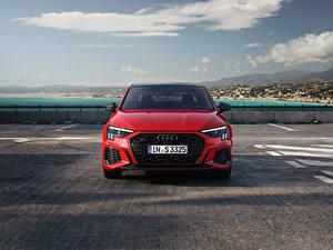 Фото Audi Красная Металлик Спереди S3 Sedan, 2020 Автомобили