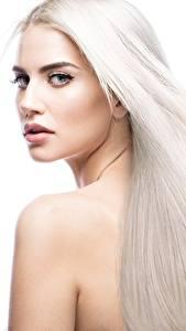 Фото Блондинка Красивая Волос Белом фоне молодая женщина