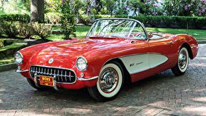 Обои Chevrolet Ретро Красная Металлик Кабриолет 1957 Corvette Fuel Injection 579B 283-283 HP Автомобили
