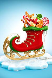 Фото Рождество Сладости Коньках Дизайн Продукты питания