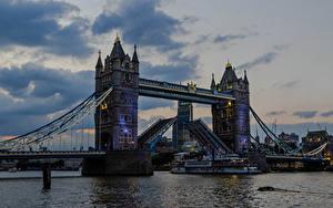 Картинка Англия Речка Мосты Вечер Корабли Лондон