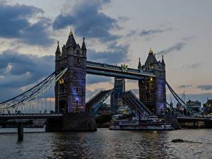 Картинка Англия Река Мосты Вечер Корабль Лондон