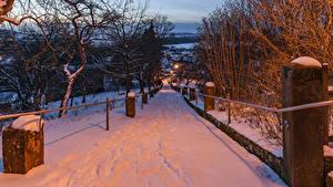 Фото Германия Зима Дороги Вечер Бавария Снег Деревья Gesees Города