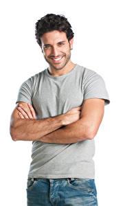 Картинки Мужчины Белом фоне Улыбка Взгляд Рука