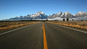 Картинка Горы Дороги Асфальт Природа