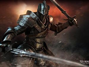 Обои Stormfall: Age of War Рыцарь Доспехе Мечи компьютерная игра Фэнтези