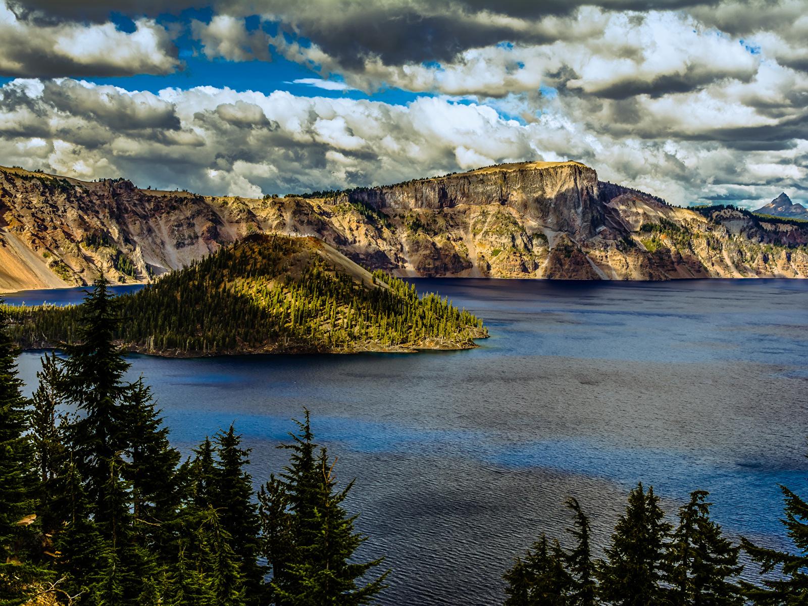 Картинки штаты Crater Lake National Park Oregon Ель Горы Природа парк Озеро 1600x1200 США америка ели гора Парки