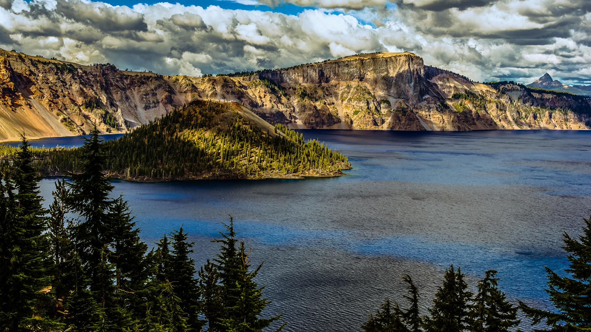 Картинки штаты Crater Lake National Park Oregon Ель Горы Природа парк Озеро 1920x1080 США америка ели гора Парки