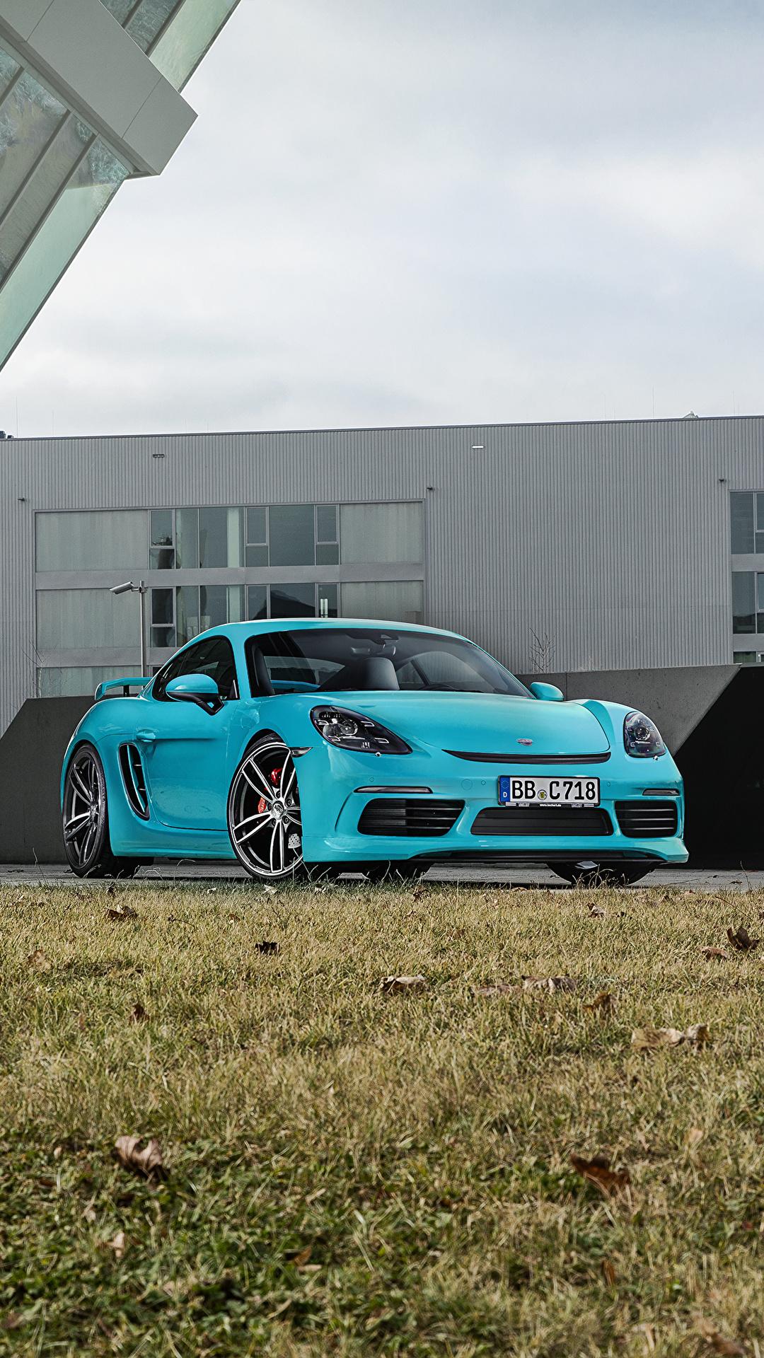 Фотография Порше 2016-17 TechArt Porsche 718 Cayman (982C) голубая Металлик Автомобили 1080x1920 для мобильного телефона голубых голубые Голубой авто машина машины автомобиль
