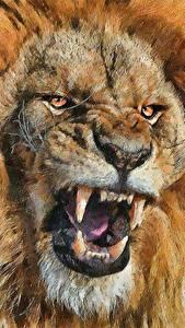 Картинка Большие кошки Львы Клыки Крупным планом Рисованные Морды Оскал Смотрит Животные