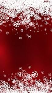 Обои Новый год Снежинки Красном фоне Шаблон поздравительной открытки