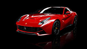 Обои Феррари Pininfarina Черный фон Красный Металлик 2012-18 F12 berlinetta Машины