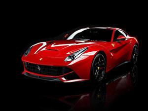 Обои Феррари Черный фон Красный Металлик 2012-18 F12 berlinetta Pininfarina