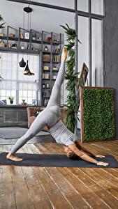 Фото Фитнес Физическое упражнение Ног молодые женщины Спорт