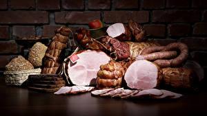 Картинка Мясные продукты Колбаса Ветчина Стены Нарезка Еда