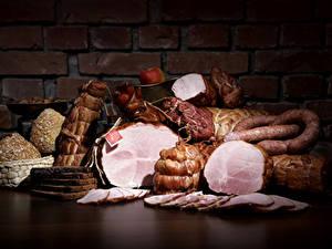 Картинка Мясные продукты Колбаса Ветчина Стенка Нарезка Еда