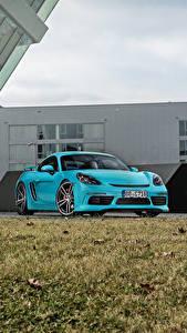 Фотография Порше Голубая Металлик 2016-17 TechArt Porsche 718 Cayman (982C) машина