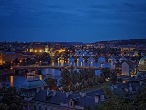 Фотография Прага Чехия Здания Реки Мосты Ночные Города