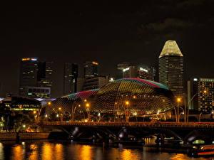 Фото Сингапур Дома Мосты Ночь Уличные фонари город