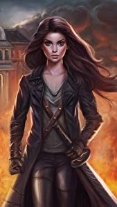 Картинки Воители Пламя Меч Фантастика Девушки