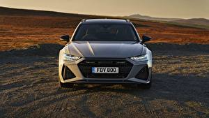 Фотография Audi Спереди Универсал Металлик Серая 2020, 2019, V8 Twin-Turbo, RS6 Avant, UK-version машина