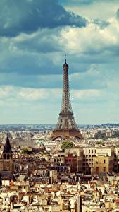 Фотографии Франция Здания Небо Париж Мегаполиса Эйфелева башня Облака