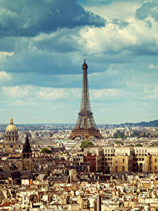 Фотографии Франция Здания Небо Париж Мегаполис Эйфелева башня Облака